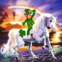 Leprechaun Riding Unicorn